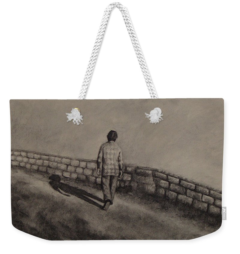Charcoal Weekender Tote Bag featuring the drawing Untitled by Ioulia Sotiriou