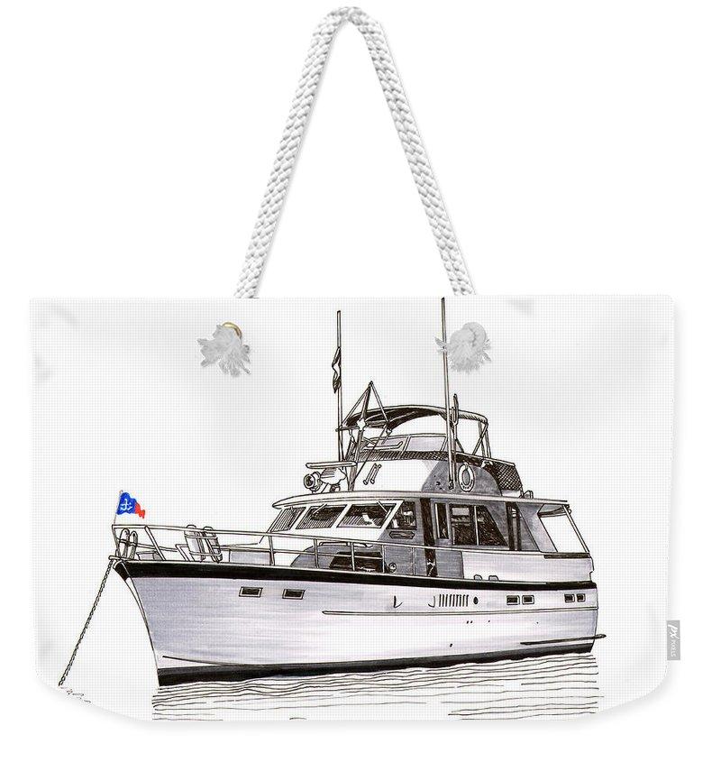 Thanks Weekender Tote Bag featuring the painting 50 Foot Hatteras Motoryacht by Jack Pumphrey