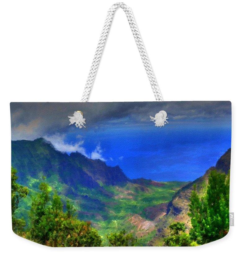 Landscape Weekender Tote Bag featuring the digital art Living Landscape by Usa Map