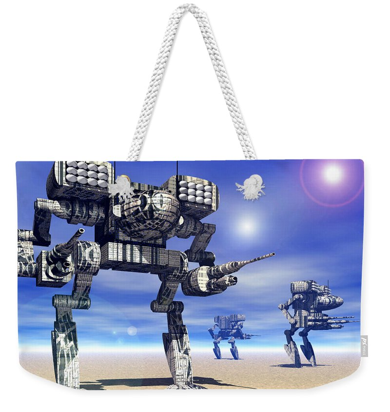 Science Fiction Weekender Tote Bag featuring the digital art 501st Mech Trinary by Curtiss Shaffer