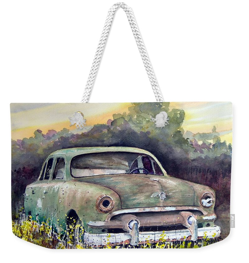 Car Weekender Tote Bag featuring the painting 51 Ford by Sam Sidders