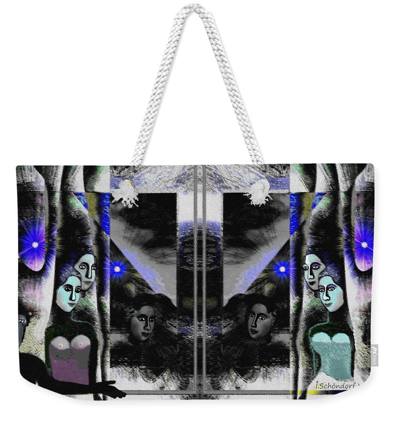 512 Island Of The Sirens A Weekender Tote Bag featuring the digital art 512  Island Of Sirens A by Irmgard Schoendorf Welch
