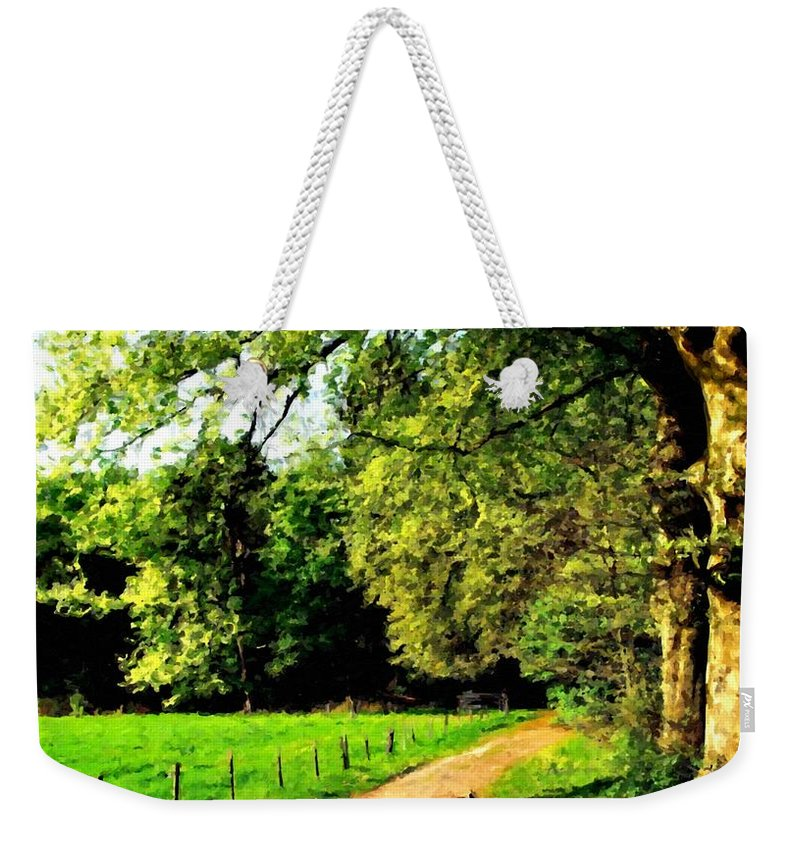 The Weekender Tote Bag featuring the digital art Oil Landscape Art by Usa Map