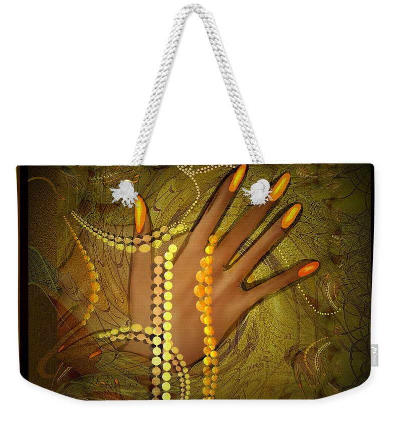 Colour Gold Weekender Tote Bag featuring the painting 544  Gold Fingers 2017 V 544 by Irmgard Schoendorf Welch