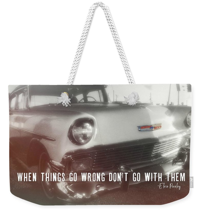 Vintage Weekender Tote Bag featuring the photograph 56 Belair In Memphis Quote by JAMART Photography