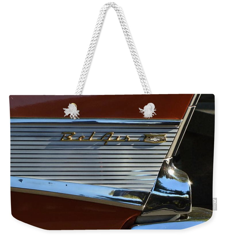 Weekender Tote Bag featuring the photograph 57 Chevy Fin by Dean Ferreira