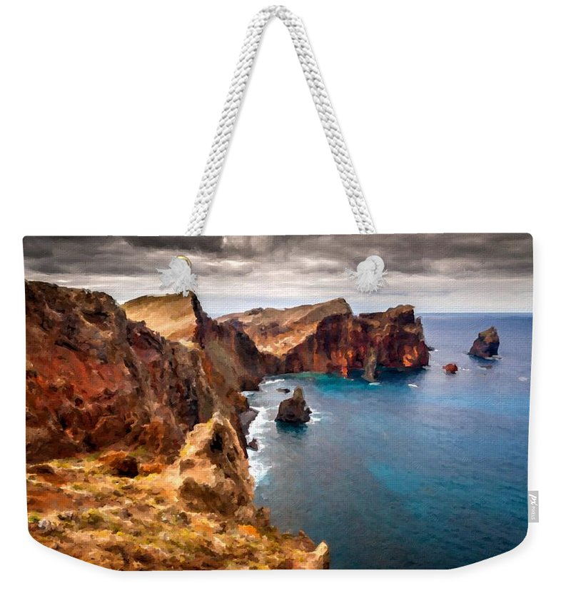 Nature Weekender Tote Bag featuring the digital art Oil Painting Landscapes by Usa Map