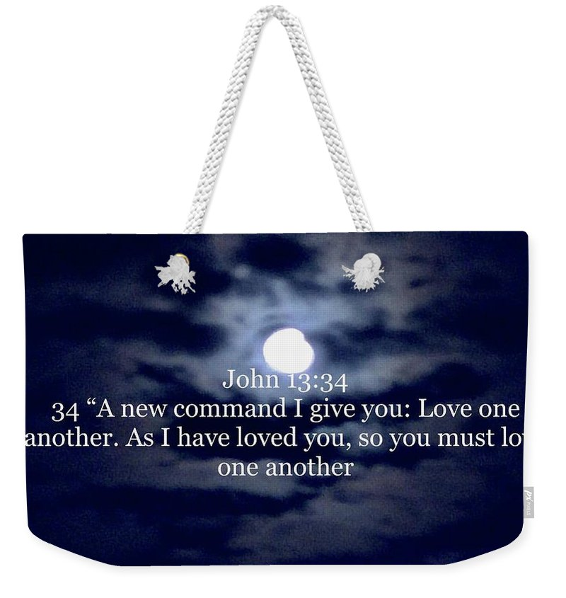 Weekender Tote Bag featuring the photograph Bible Verse by Miriam Marrero