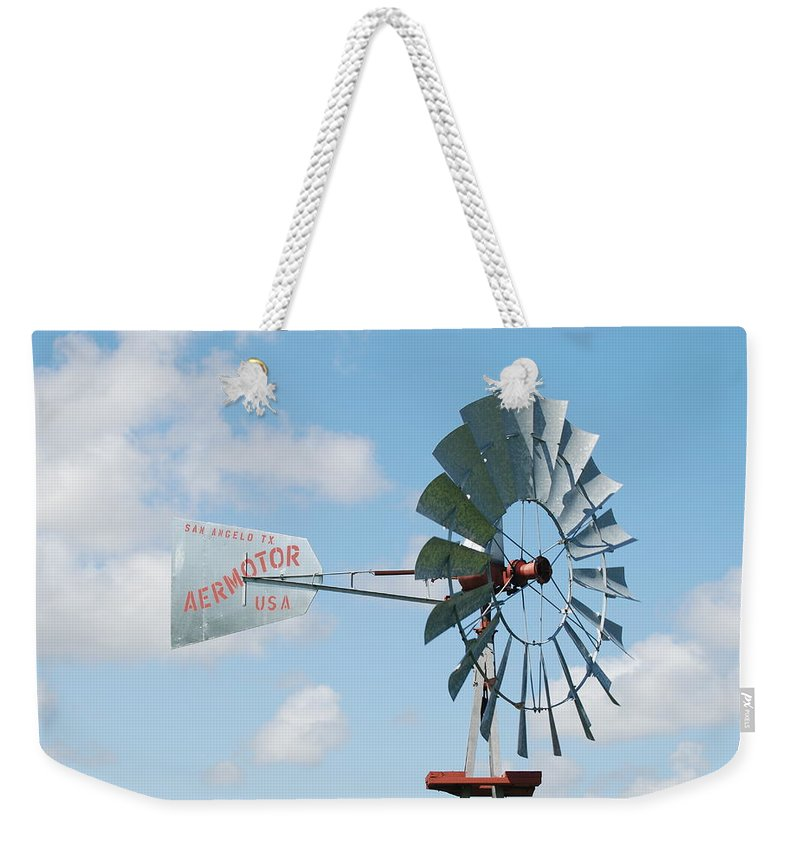 Blue Weekender Tote Bag featuring the photograph Aermotor Windmill by Rob Hans