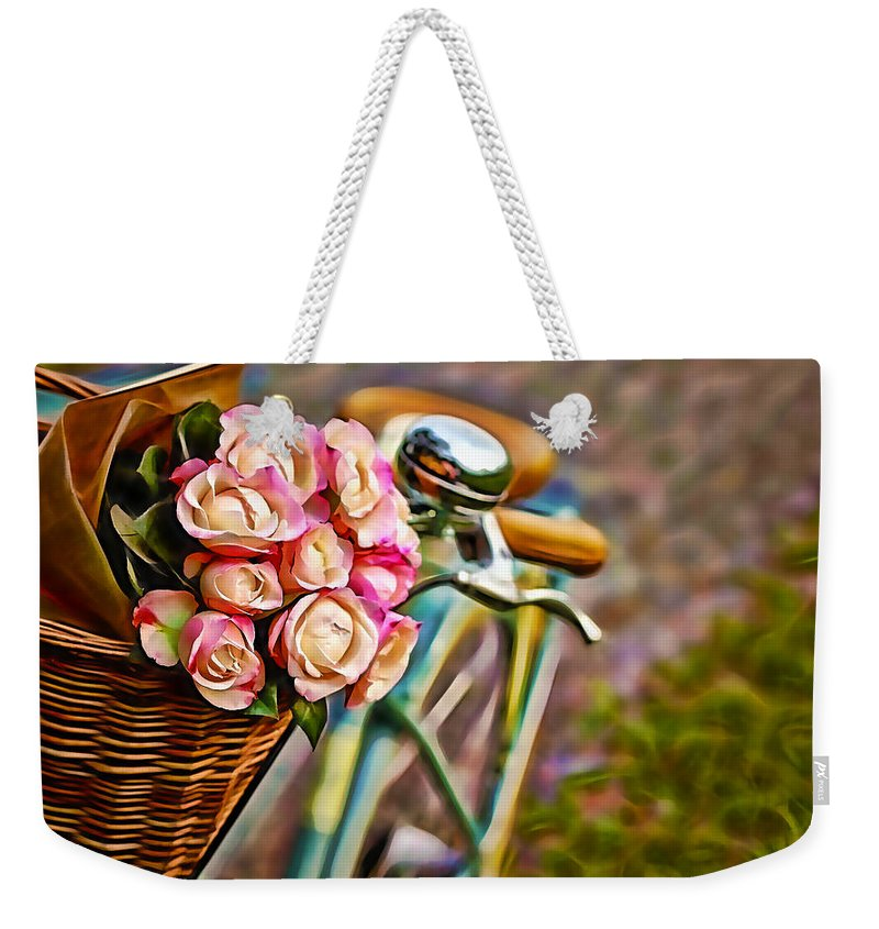 Flower Bike Weekender Tote Bag featuring the mixed media Flower Bike Collection by Marvin Blaine
