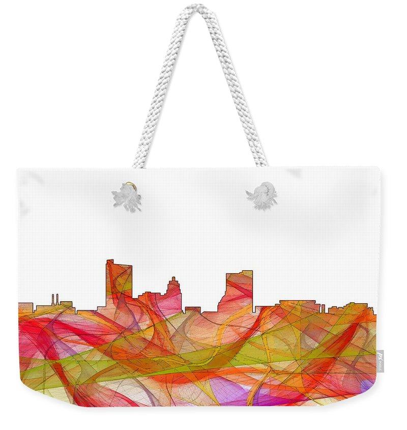 Fort Wayne Indiana Skyline Weekender Tote Bag featuring the digital art Fort Wayne Indiana Skyline by Marlene Watson
