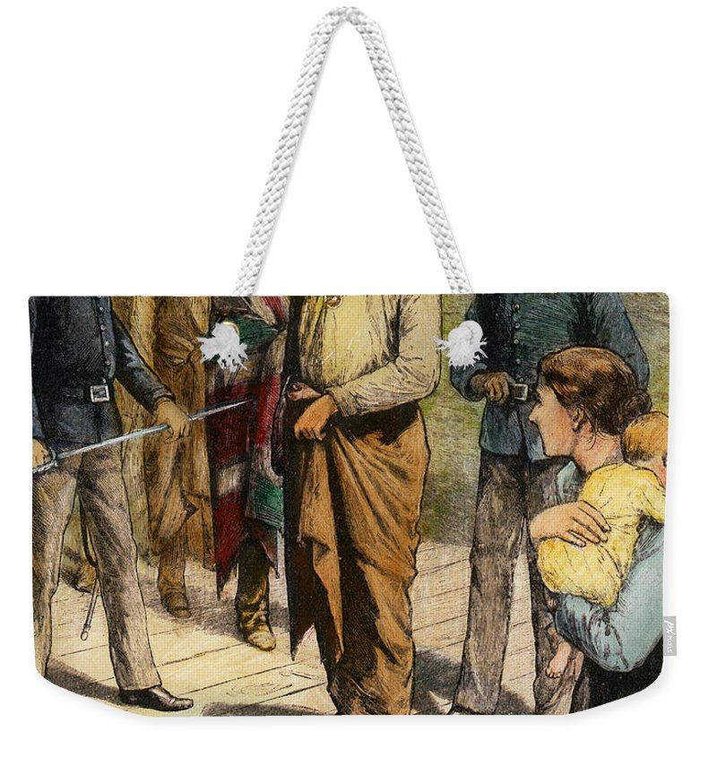 1907 Weekender Tote Bag featuring the photograph Geronimo 1829-1909. by Granger