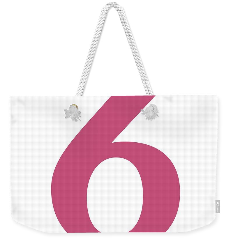 6 Weekender Tote Bag featuring the digital art 6 In Pink Typewriter Style by Custom Home Fashions