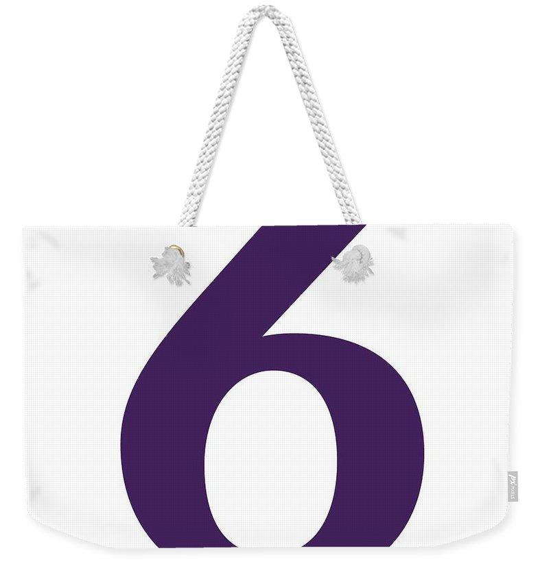 6 Weekender Tote Bag featuring the digital art 6 In Purple Typewriter Style by Custom Home Fashions
