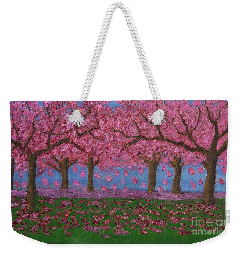 Garden Weekender Tote Bag featuring the painting Pink Garden, Oil Painting by Irina Afonskaya