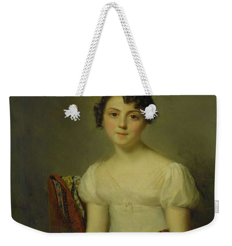 Firmin Massot Geneva 1766 - 1849 Portrait Of Andrienne-constance Bourdillon (1792-1836) Weekender Tote Bag featuring the painting Portrait by MotionAge Designs