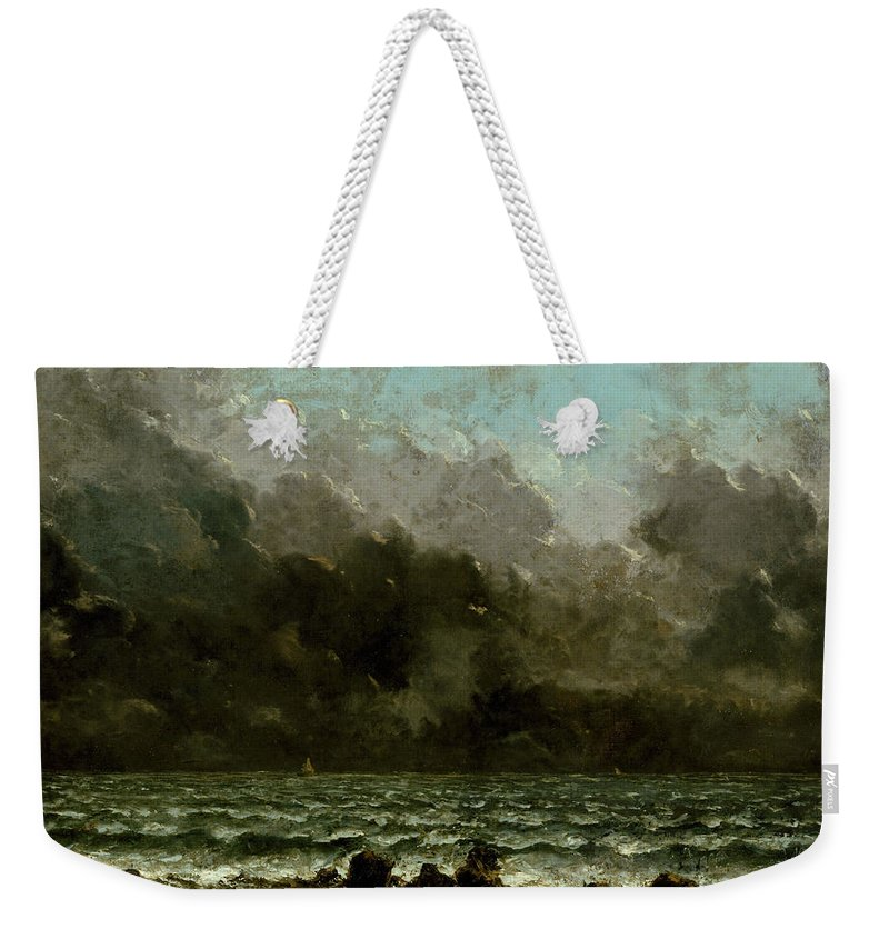 Sea Weekender Tote Bag featuring the painting The Sea by Gustave Courbet