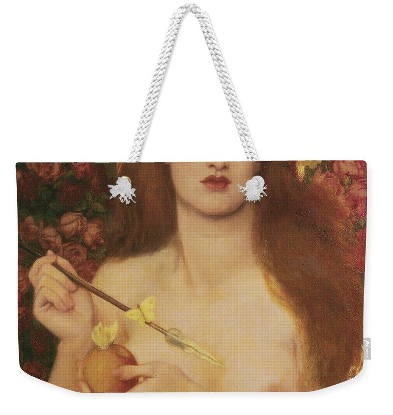 Venus Verticordia Weekender Tote Bag featuring the painting Venus Verticordia by Dante Gabriel Rossetti