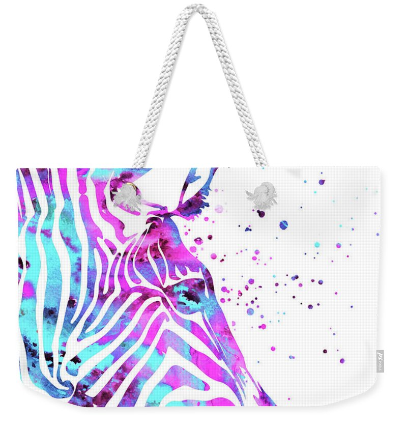 Zebra Weekender Tote Bag featuring the painting Zebra by Art Galaxy
