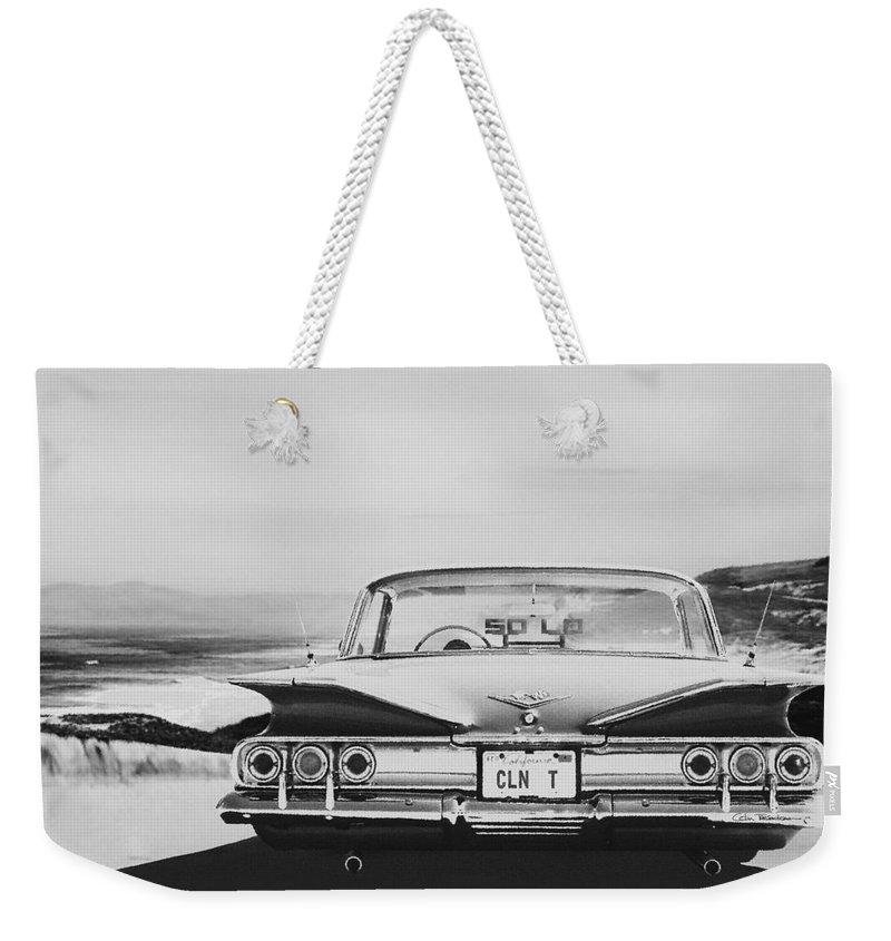 Lowrider Weekender Tote Bag featuring the digital art 60 Impala Lowrider by Colin Tresadern