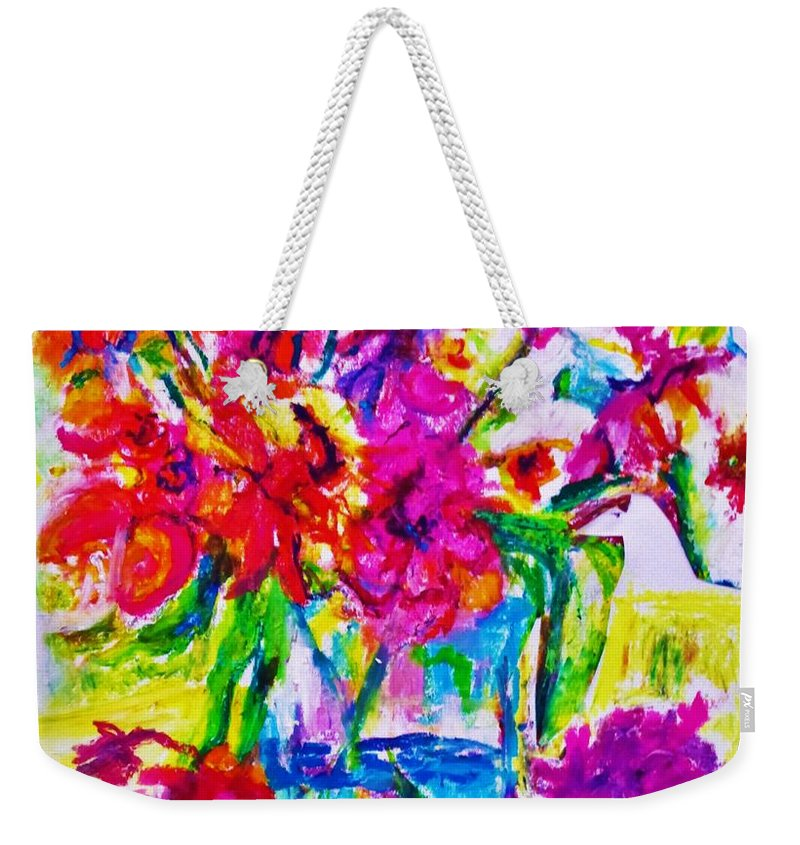 Flowers Still-life Nature Color Weekender Tote Bag featuring the painting Janas by B Janas