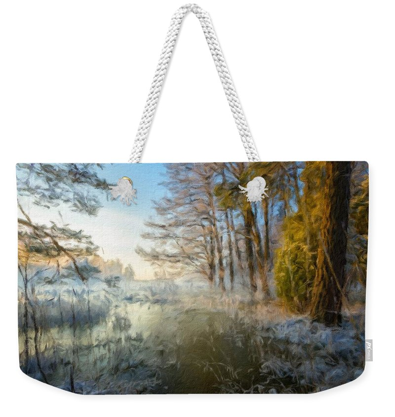 K Weekender Tote Bag featuring the digital art Lake Landscape by Usa Map