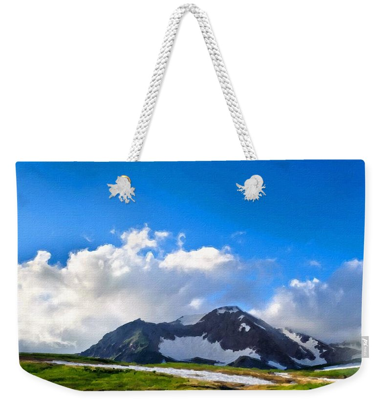 Nature Weekender Tote Bag featuring the digital art Lake Landscape by Usa Map