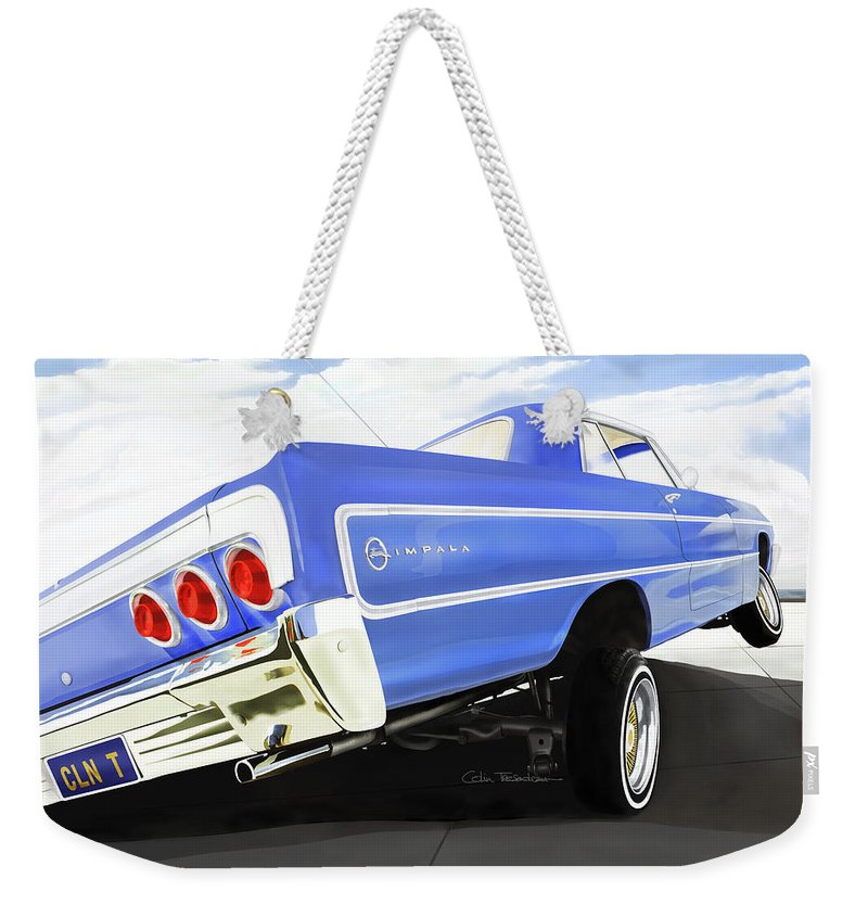 Lowrider Weekender Tote Bag featuring the digital art 64 Impala Lowrider by Colin Tresadern