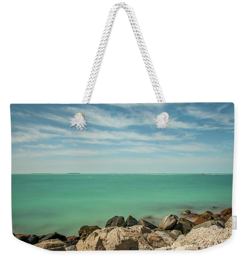 Florida Weekender Tote Bag featuring the photograph 6873- Rocky Beach by David Lange