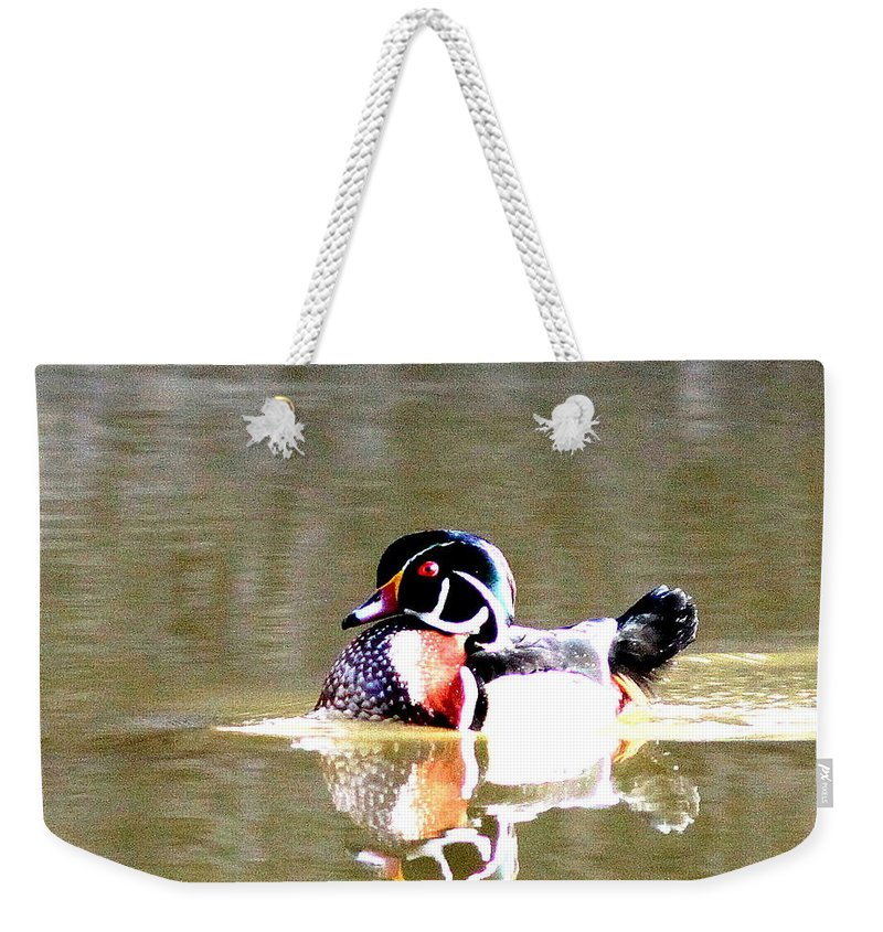 Wood Duck Weekender Tote Bag featuring the photograph 6966 - Wood Duck by Travis Truelove