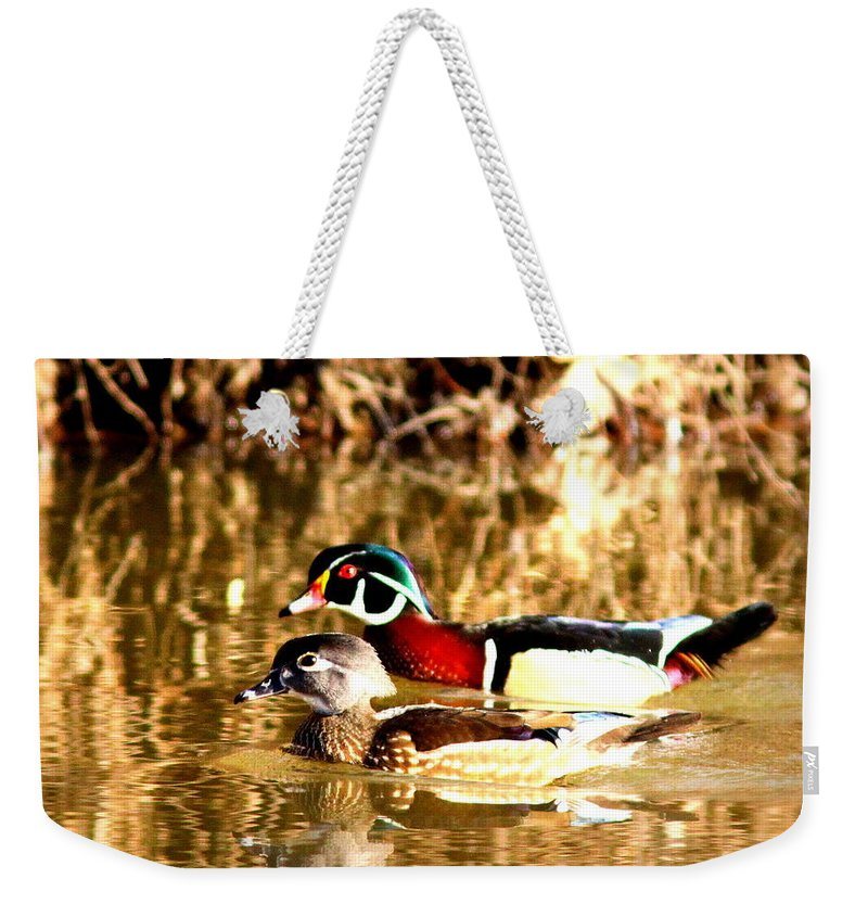 Wood Duck Weekender Tote Bag featuring the photograph 6980 - Wood Duck by Travis Truelove