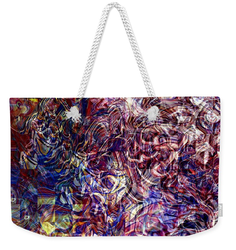 Abstract Green Yellow Red White Blue Weekender Tote Bag featuring the digital art Abstract by Galeria Trompiz