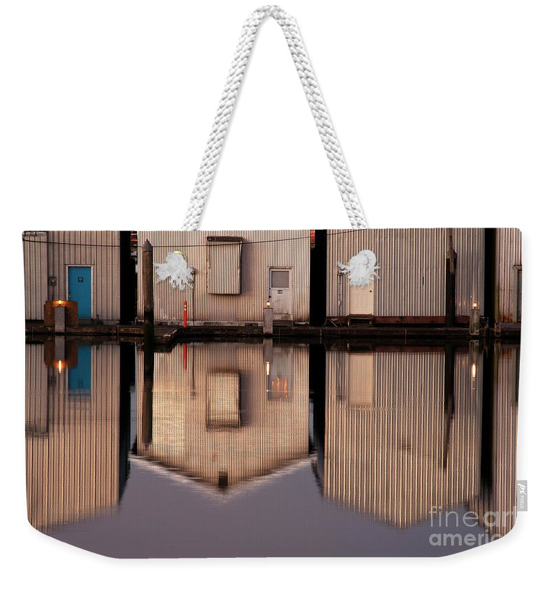 Everett Marina Weekender Tote Bag featuring the photograph Boathouse Reflections by Jim Corwin