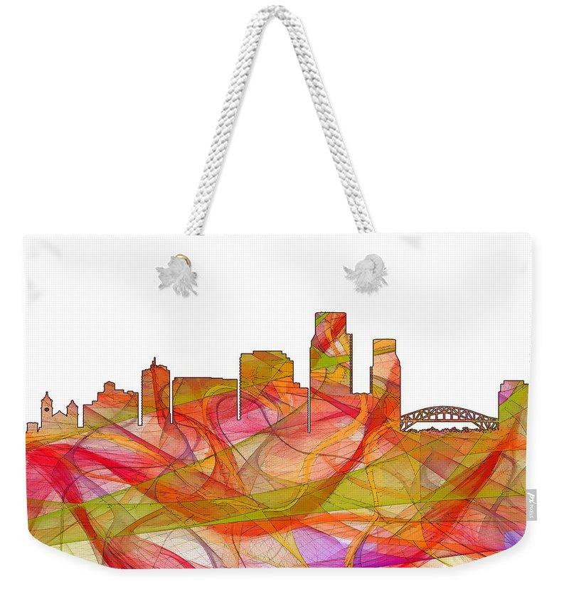 Corpus Christi Texas Skylineskyline Weekender Tote Bag featuring the digital art Corpus Christi Texas Skyline by Marlene Watson