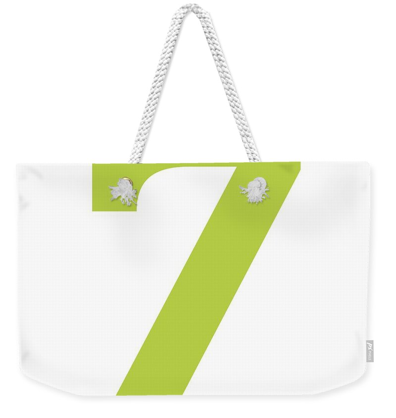 7 Weekender Tote Bag featuring the digital art 7 In Spring Green Typewriter Style by Custom Home Fashions