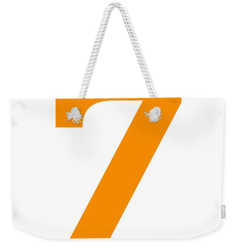 7 Weekender Tote Bag featuring the digital art 7 In Tangerine Typewriter Style by Custom Home Fashions