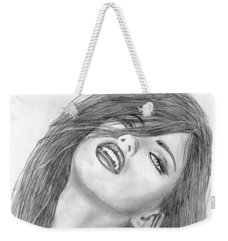 Adriana Lima Weekender Tote Bag featuring the drawing 7 by Kristopher VonKaufman