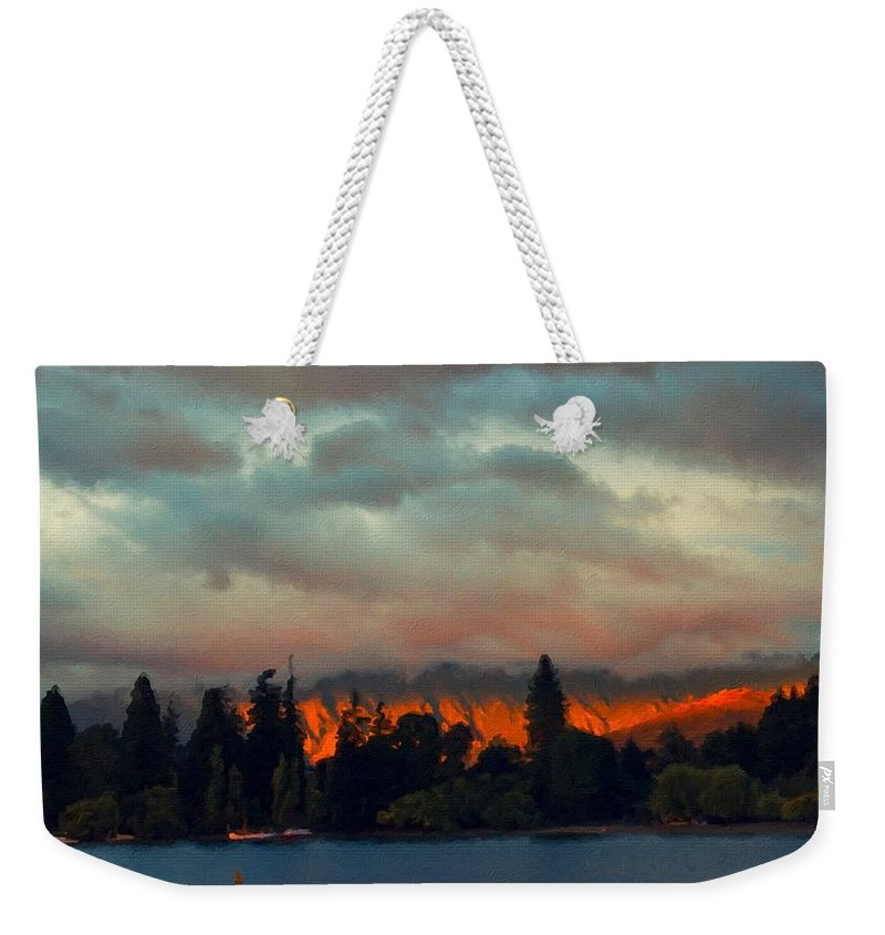 Art Weekender Tote Bag featuring the digital art Landscape Paintings by Usa Map