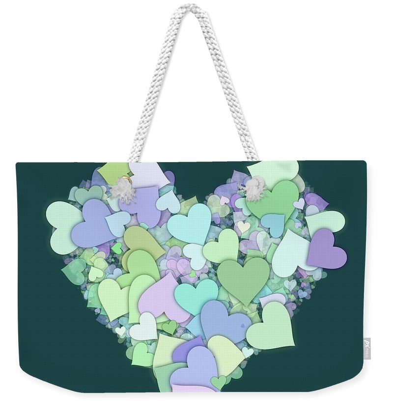 Heart Weekender Tote Bag featuring the digital art Love Heart Valentine Shape by Miroslav Nemecek