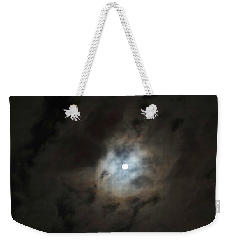 Moon Weekender Tote Bag featuring the photograph Moon And The Clouds by Explorer Lenses Photography