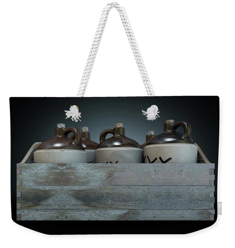Jug Weekender Tote Bag featuring the digital art Moonshine In Wooden Crate by Allan Swart
