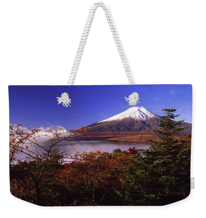 Japan Weekender Tote Bag featuring the photograph Mount Fuji In Autumn by Michele Burgess
