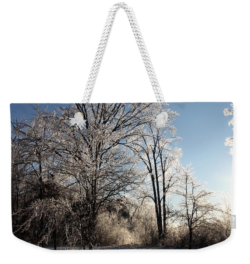 Trees Weekender Tote Bag featuring the photograph Trees In Ice Series by Amanda Barcon