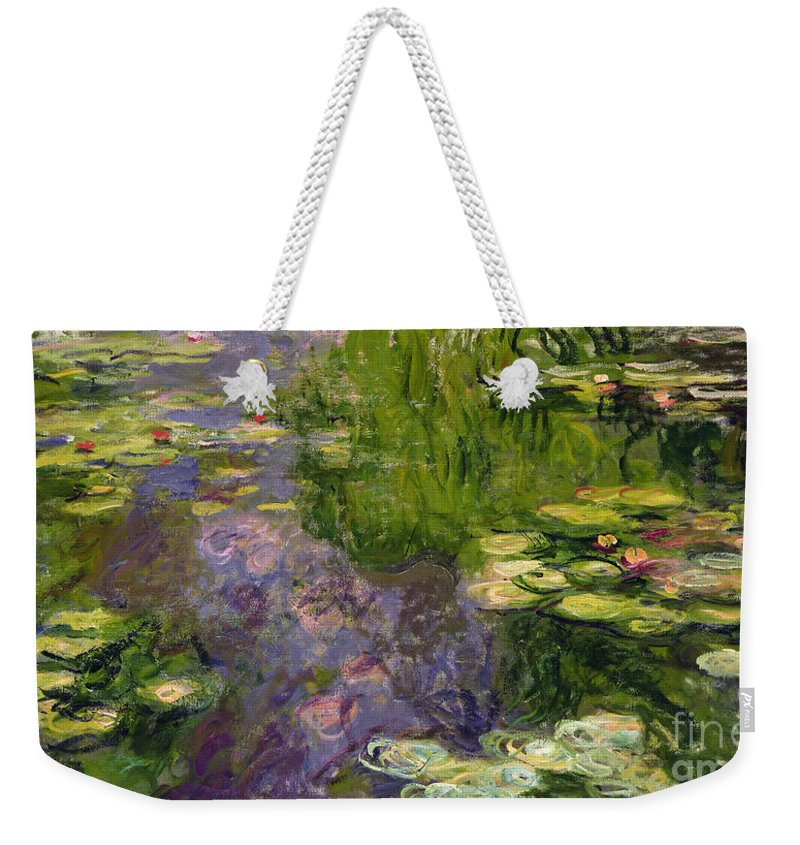 Nympheas; Water; Lily; Waterlily; Impressionist; Green; Purple Weekender Tote Bag featuring the painting Waterlilies by Claude Monet