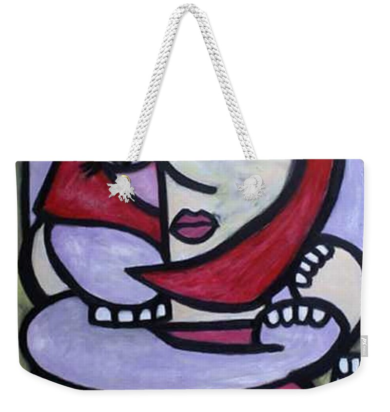 Abstact Weekender Tote Bag featuring the painting Hugs by Thomas Valentine
