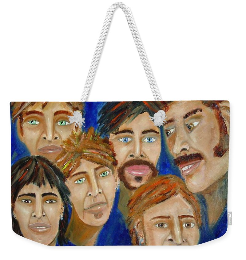 Portrait Weekender Tote Bag featuring the painting 70s Band Reunion by Laurie Morgan