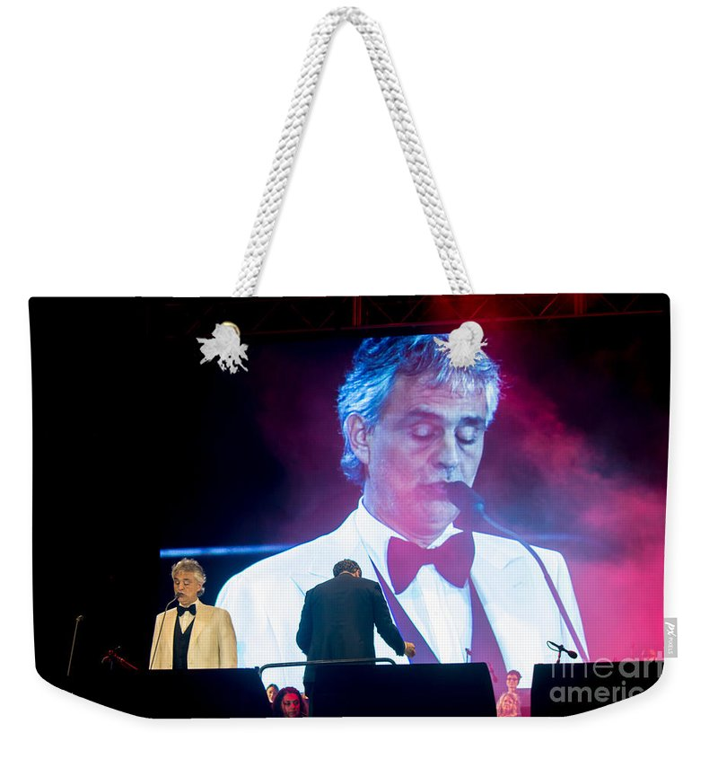 Andrea Bocelli Weekender Tote Bag featuring the photograph Andrea Bocelli In Concert by Rene Triay Photography