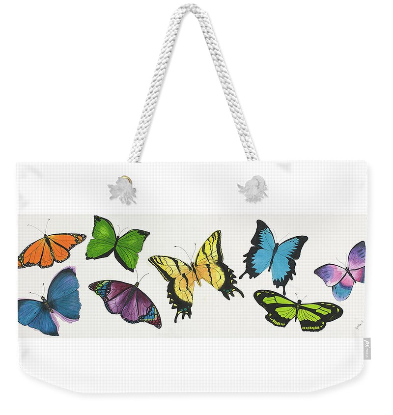 Butterflies Weekender Tote Bag featuring the painting 8 Butterflies by Cynthia Schumann