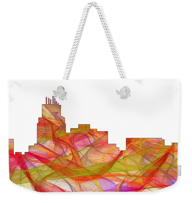 Durham North Carolina Skylineskyline Weekender Tote Bag featuring the digital art Durham North Carolina Skyline by Marlene Watson