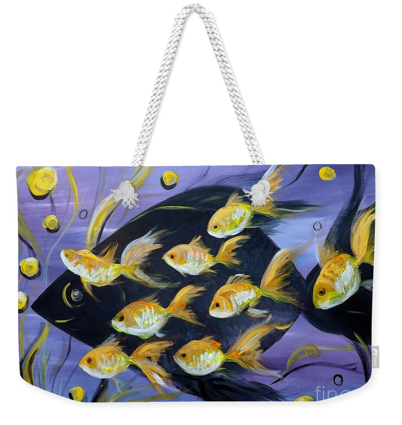 Fish Weekender Tote Bag featuring the painting 8 Gold Fish by Gina De Gorna